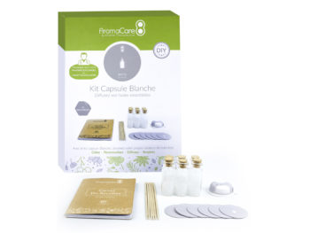 White capsule AromaCare Packaging et interior