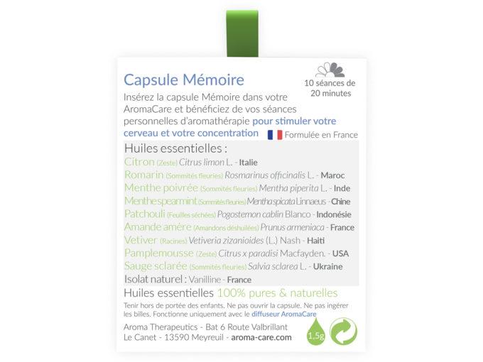 Packaging AromaCare Capsule Mémoire Arrière
