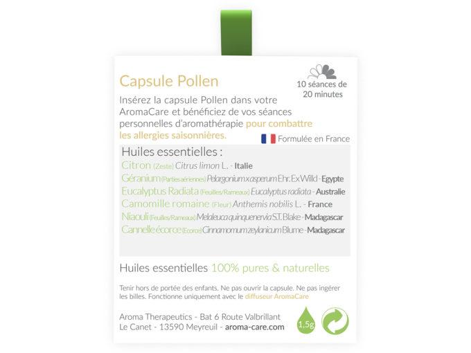Packaging AromaCare Capsule Pollen Arrière