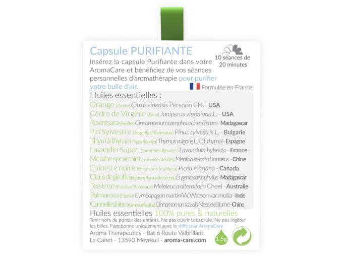 Packaging AromaCare Capsule Purifiante Arrière