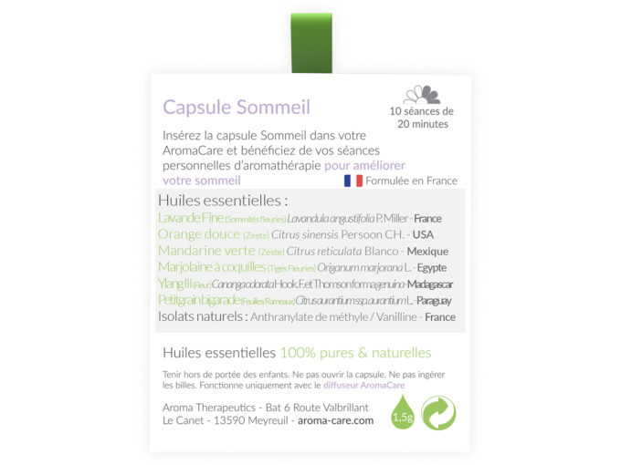 Packaging AromaCare Capsule Sommeil Arrière