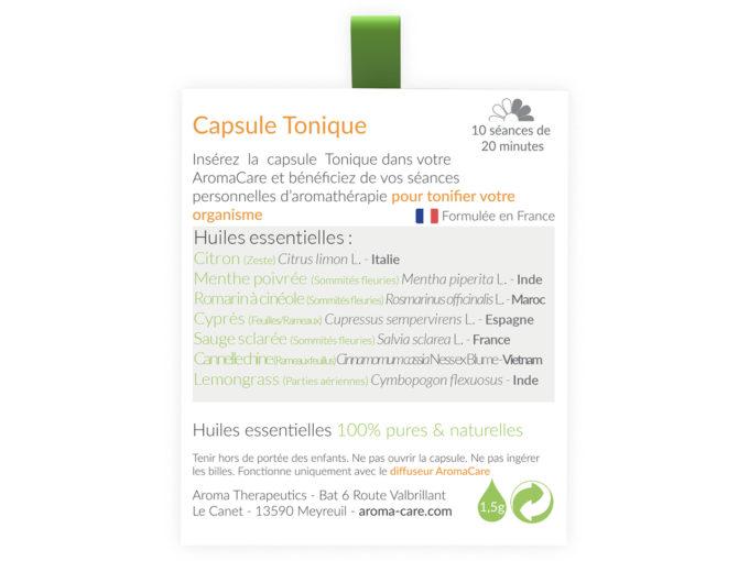 Packaging AromaCare Capsule Tonique Arrière