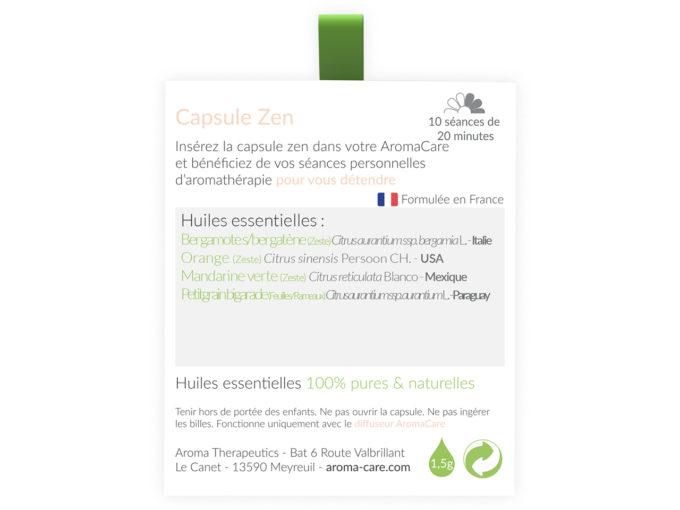 Packaging AromaCare Capsule Zen Arrière